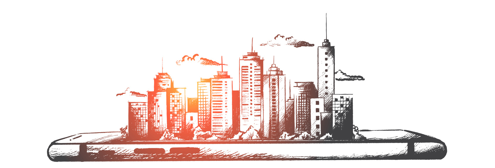 Samart city concept. Hand drawn isolated vector.